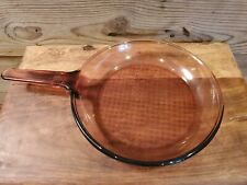 """Corning Ware Visions Cookware Amber Large 10"""" Skillet Pan Waffle Bottom Glass"""
