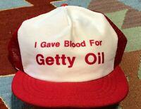 Vintage 80s I gave blood for Getty Oil Snapback Trucker Cap Hat