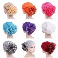 Woman Hat Stretch Flower Cancer Chemo Cap Headwear Islamic Hijab Hat Lady Cap