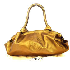 Authentic LOEWE Logos Nappa Arie Shoulder Bag Leather Gold Spain 66S154