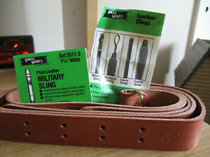 """Vintage Uncle Mike's Plain Leather Military Sling 1.25"""" wide set 2611-3"""