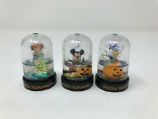 Lot of 3 Vintage Disney Halloween Mini Snow Domes Mickey Mouse, Minnie, Donald