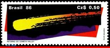 2043 BRAZIL 1986 - HALLEY'S COMET, RETURN OF THE COMET, SPACE, RHM C-1507, MNH