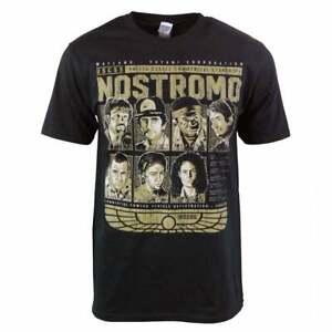 Nostromo T Shirt Alien USCSS Mens Movie Film Weyland Yutani Crew Ripley Black