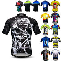 Mens Cycling Jersey Shirt Short Sleeve Bike Clothes Riding Tops Outdoor Clothing