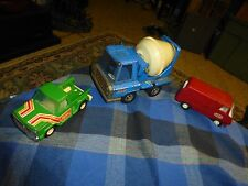 "Vintage BUDDYL Pressed Steel Pick Up 5"" & Cement Mixer 6.5"" + MINI TONKA VAN 5"""