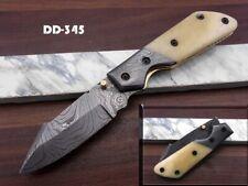 Damascus steel folding knife, Pocket clip, Camel bone, Thumb knob, Cow sheath