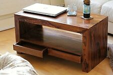 Brown wooden small coffee table with drawers - scratches to the surface