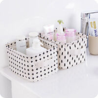 New 1Pc Applied Cotton Linen Storage Basket Underwear Cosmetic Jewelry Container