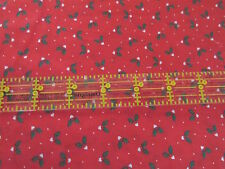 Christmas cotton fabric tiny calico white heart flower holly half yard cut 1/2