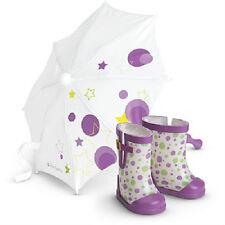 American Girl Doll McKenna's RAIN GEAR Polka Dot UMBRELLA + BOOTS
