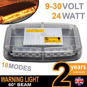 24w Mini LED Warning Light Bar Beacon Amber Recovery Strobe 12v or 24v Magnetic