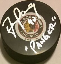 "DARREN PANG SIGNED CHICAGO BLACKHAWKS LOGO PUCK W/ ""PANGER"" AUTOGRAPHED"