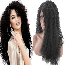 Black Fluffy Long Curly Lace Frontal Synthetic Wig Full Corn Wave Wig for Women