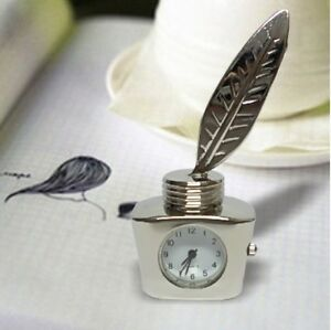 New Minature Clock Mini Color Silver Ink Bottle Birthday Gift Present Decoration