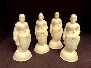 4 Vintage Renaissance Chessman Chess Piece Replacement White Pawn E.S. Lowe Anri
