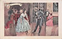 THE DANCING LESSON-COLONIAL ERA~WALK OVER SHOES ADVERTISING POSTCARD 1914 PSTMK