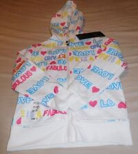 Girls Jacket by Thrill-White & Lots of Colorful Words & Symbols-Size S (7-8)