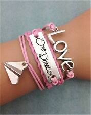 NEW Infinity Love One Direction Friendship Leather Charm Bracelet plated Silver