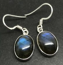 Labradorite oval drop earrings solid Sterling Silver, Actual Ones.13 x 9mm