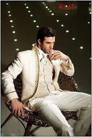 Groom Tuxedos Mandarin Collar Best man Suit Ivory Groomsman/Bridegroom Wedding