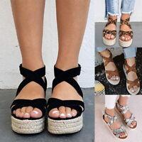 Women Summer Ankle Strap Espadrilles Flatform Sandals Wedges Platform Shoes SH