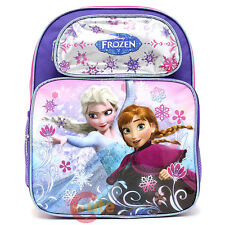 "Disney Frozen Princess Elsa Anna School Backpack 14"" Girls Bag -Ice Snowflakes"