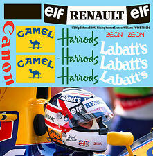 1/2 Nigel Mansell 1992 Missing Helmet Williams FW14B Decals TB Decal TBD236