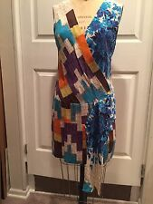 TRACY REESE Geometric Ikat  Silk Swag Shift Dress Runway Sz 4 NWT