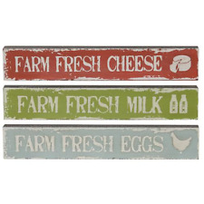 Set/3 Mini Signs FARM FRESH MILK, CHEESE, EGGS Classic Country Rustic Farmhouse