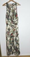 IZABEL LONDON Sleevless Oriental High Chest Floral Maxi Dress Cream Color RRP£35