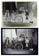 Photo plaque verre 13x18 cm / Famille colons et pouss-pouss - China silver plate