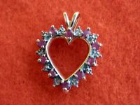 10K Solid Yellow Gold Ruby and Diamond Heart Pendant