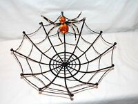 "New Decorative Halloween Spider Web Bowl Basket with Rhinestone Black Spider 13"""