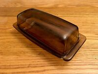 """Rare Vintage Pyrex Corning Butter Dish Clear Brown Amber Glass 7"""" x 3.5"""" x 2.25"""""""