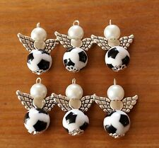 8x Football Amulet Black White Angel Charm Pendant Beads Silver Wings