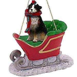 Australian Shepherd Tricolor w/Docked Tail Dog Sleigh Dog Holiday Ornament