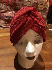 Vintage Red Glitter Turban Hat