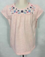 NWT  baby B'Gosh 2T Girl's Pink 100% Cotton Short Sleeve Floral Embroidered Top