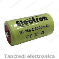 Pila Batteria ricaricabile Ni-Mh NiMh 1/2 mezza torcia C 4000mAh 50x26mm pin