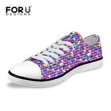 Sequin Print Multi Colored Lady Women's Casual Canvas Sneakers Lace Up Shoes