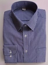 Ex M&S MENS REGULAR FIT BLUE & WHITE CHECK 100% COTTON SHIRT BNWOT 14.5-18.5 A20