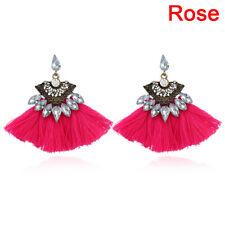 Crystal Rhinestone Tassel Drop Dangle Ear Stud Earrings Women Jewelry Fashion Jx Purple