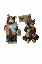 Fairy Garden-Bear with Fish - Bear with Welcome Sign Set of 2