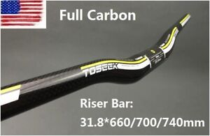 Full Carbon Handlebar MTB Mountain Road Bike Riser Bar 31.8*660/700/740mm Yellow