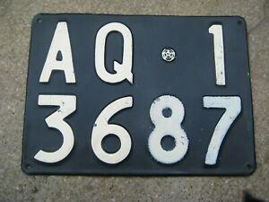 ITALY L'AQUILA 1956 VINTAGE FIAT # AQ 13687 RARE REAR LICENSE PLATE & DOCUMENTS