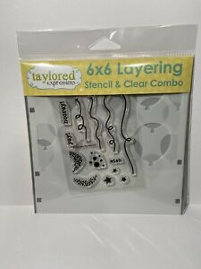 Taylored Expressions Balloon Party 6x6 Layering Stencil & Clear Stamp Birthday