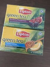 NEW 2 Lipton Green Tea Honey Lemon/Blackberry Pomegranate Decaffeinated 40 Bags