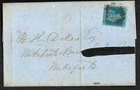 1841 SG14 2d Blue 4 Plate 4 Margins on cover dated Feb 1850 London to Wakefield