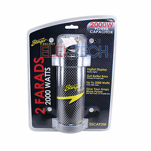 Stinger Select 2 Farad Capacitor 2000 Watts SSCAP2M Power 12V Digital Display